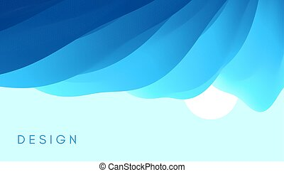Blue sky with sun in the clouds. 3d vector Illustration.