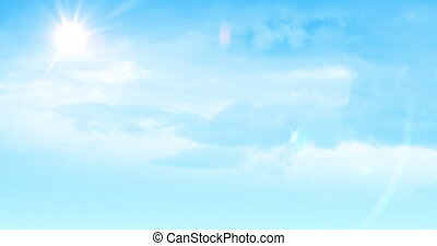 Blue sky with sunshine and clouds 4k - Digital animation of ...