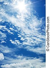blue sky with the sun