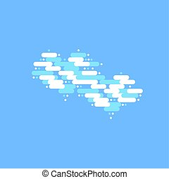 Blue sky with two white clouds in the shape of a heart. Vector illustration
