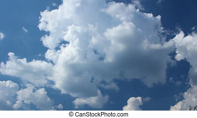Blue Sky with Vast White Clouds - Clouds Running Across the...