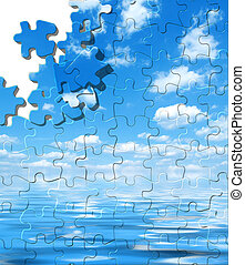 Blue sky with water reflection puzzle