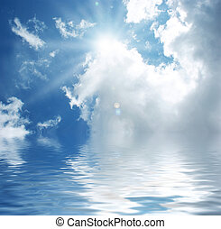 Blue sky with water