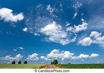 blue sky with white cloud above country fields