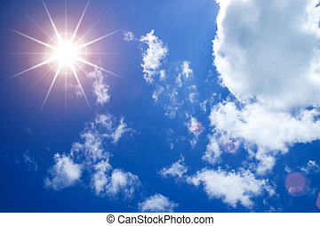 Blue sky with white cloud and sun.