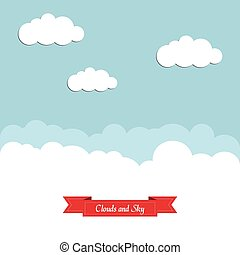 Blue sky with white clouds and a red ribbon. Flat design.