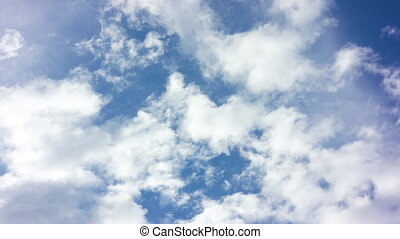 Blue Sky with White Clouds - Beautiful cirrus clouds moving...