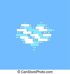 Blue sky with white clouds in the shape of a heart. Vector illustration