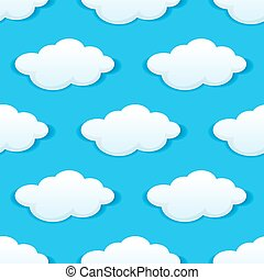 Blue sky with white clouds seamless pattern