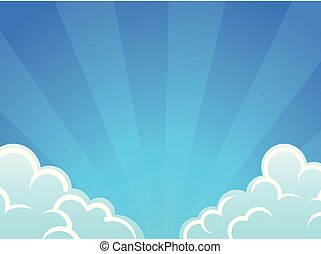 Blue sky with white clouds, vector background