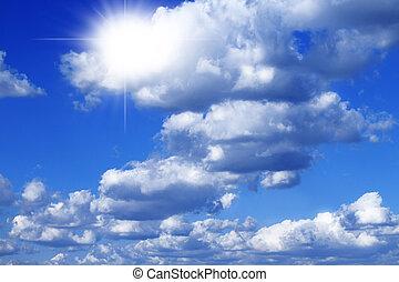 Blue sky withsun rays