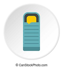 Blue sleeping bag icon circle