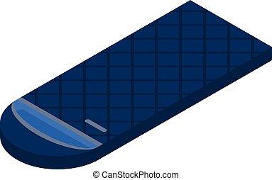 Blue sleeping bag icon, isometric style