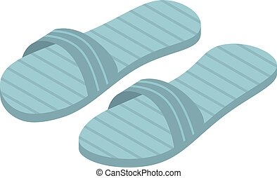 Blue slippers icon, isometric style