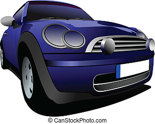 Blue small car on the road. Vector