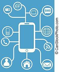 blue smart phone network background