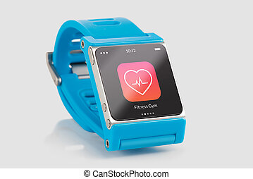 Blue smart watch with fitness app icon on the screen - Close...