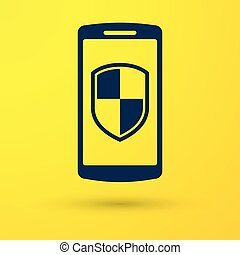 Blue Smartphone, mobile phone with security shield icon isolated on yellow background. Vector Illustration