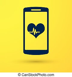 Blue Smartphone with heart rate monitor function icon isolated on yellow background. Vector Illustration