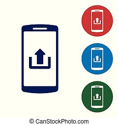 Blue Smartphone with upload icon isolated on white background. Set color icon in circle buttons. Vector Illustration