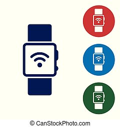 Blue Smartwatch with wireless symbol icon isolated on white background. Vector Illustration