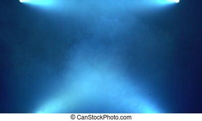 Blue smoke background lights floodlights