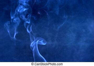 Blue smoke blured background