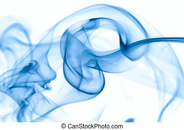 smoke  - Blue smoke isolated on a white background.