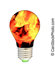 blue smoke lamp bulb art concept on white