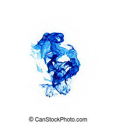Blue smoke on a white background.