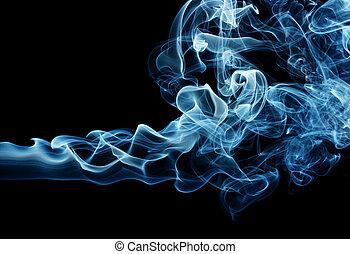 Blue smoke - Puff of a blue smoke spreading horizontally,...