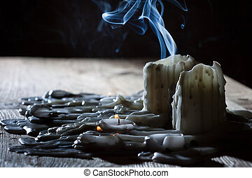 Blue smoke with candls