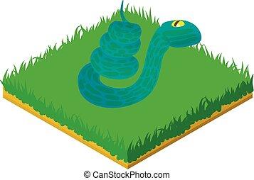 Blue snake icon, isometric style