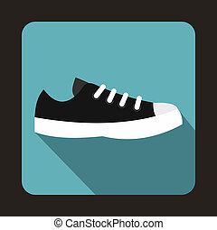 Blue sneaker icon, flat style