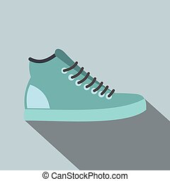 Blue sneakers flat icon