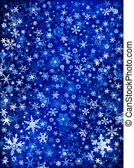 Blue Snow Blizzard - Snowflakes and stars on a blue paper...