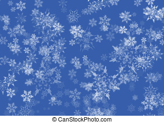 Blue Snow flakes  - White snow flakes over a blue background
