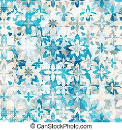blue snow flowers seamless pattern