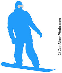 Blue Snowboarder Flat Icon on White Background