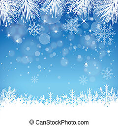 A blue snowflake background with many different snowflakes.