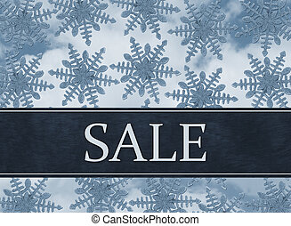 Blue Snowflake Background with Sale Message