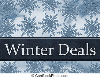 Blue Snowflake Background with Winter Deals Message