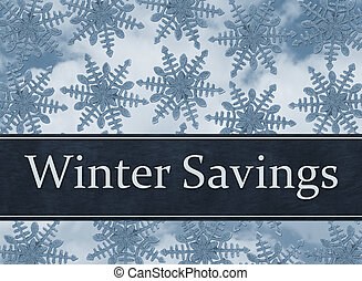 Blue Snowflake Background with Winter Savings Message