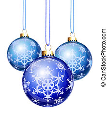 Blue Snowflake Christmas Balls