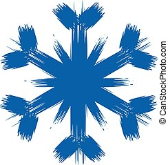 Blue snowflake depicted by brush strokes. Isolated vector image.