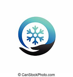 blue snowflake icon with hand symbol