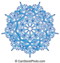 Blue Snowflake design isolated on white background-for your...