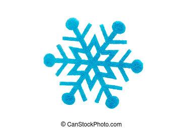 blue snowflake made of felt