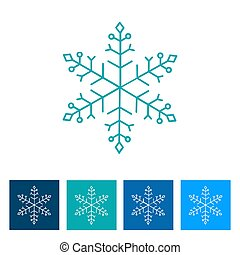 Blue Snowflake. New Year icon