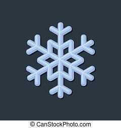 Blue Snowflake on Dark Background. Vector